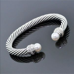 DY Pearl &Diamond Bangle 7mm Cable Sz medium